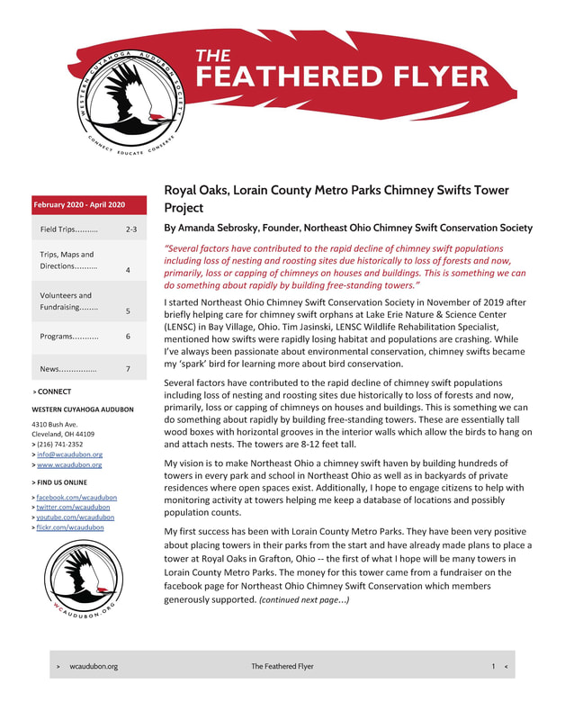 Western Cuyahoga Audubon Newsletter Vol.16 Issue 1 February 2018 PDF